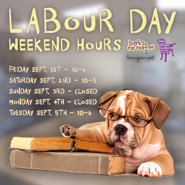 Barks and Recreation in Trail, BC 2017 Labour Day Hours