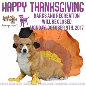 Barks and Recreation in Trail BC Thanksgiving 2017 hours