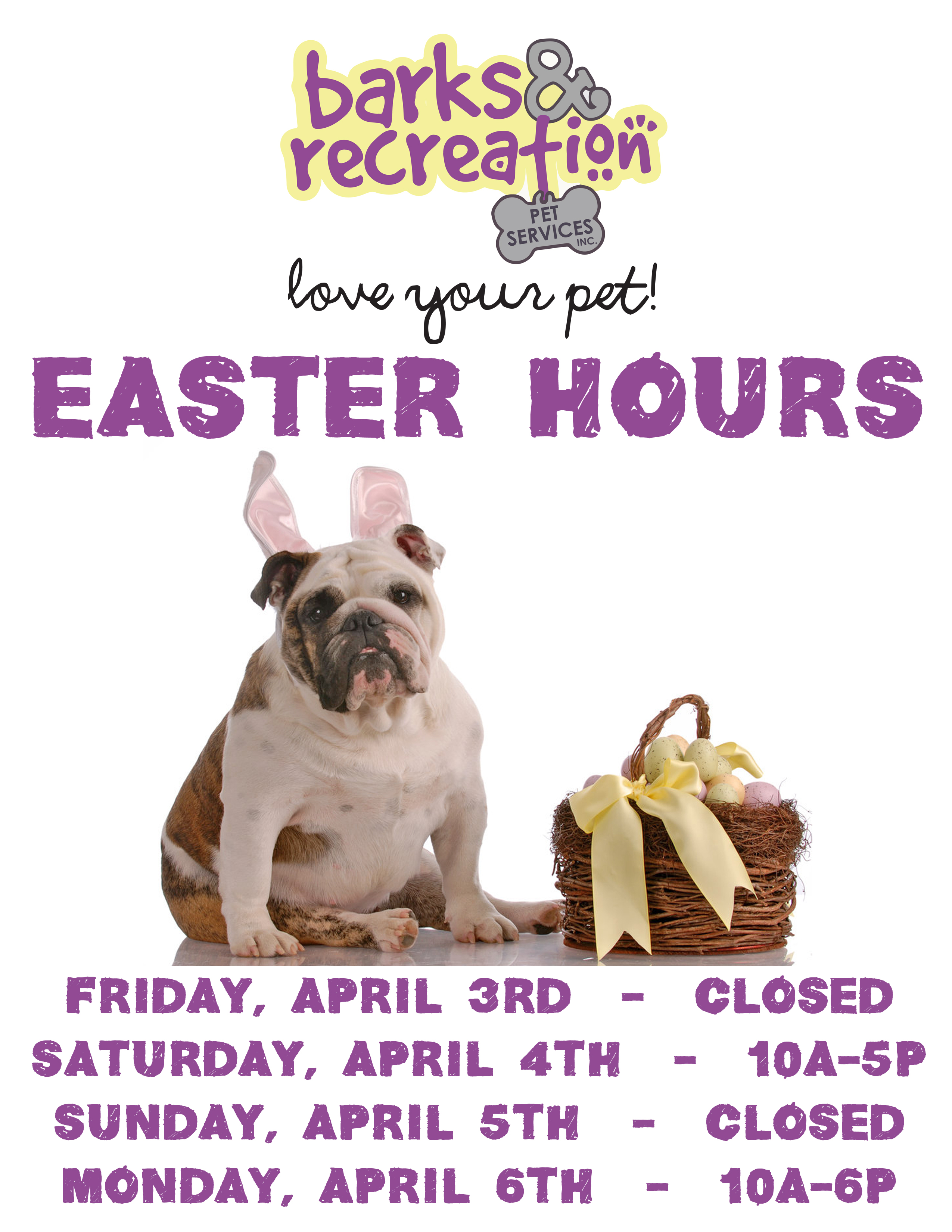 Barks and Recreation in Trail BC Easter Hours 2015