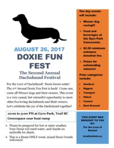 Doxie Fun Fest at Gyro Park in Trail BC - 08-26-2017